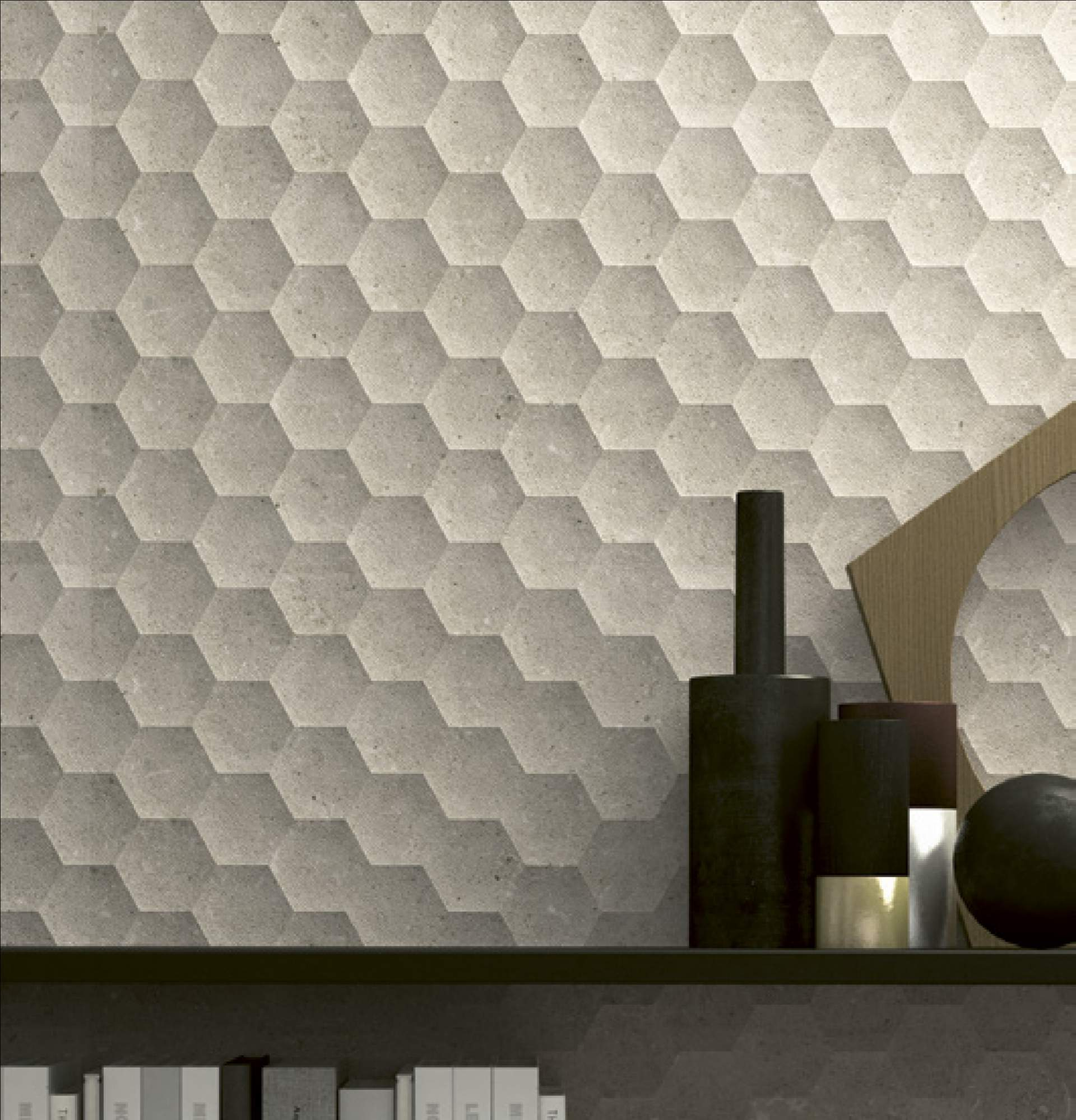 Stone Project Wall Tiles setting using Light Grey Six Tiles