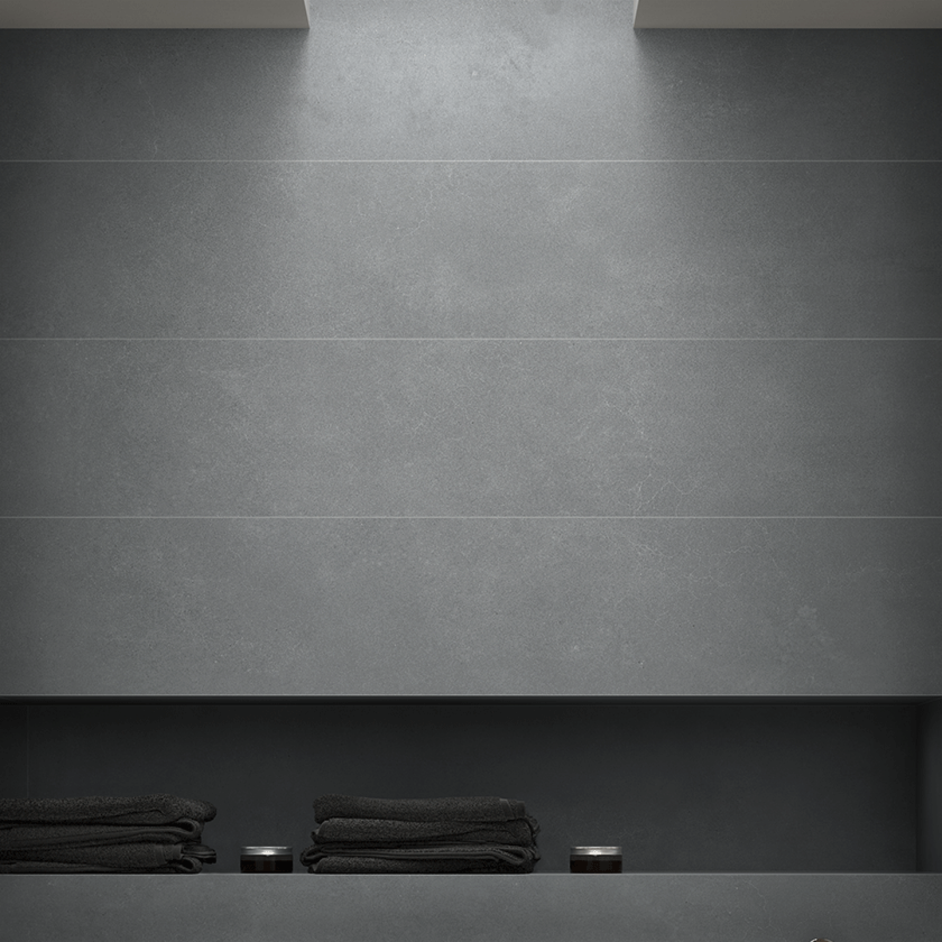 Micro Cement setting using Grey Tile. Available in 900mm x 900mm tile size.