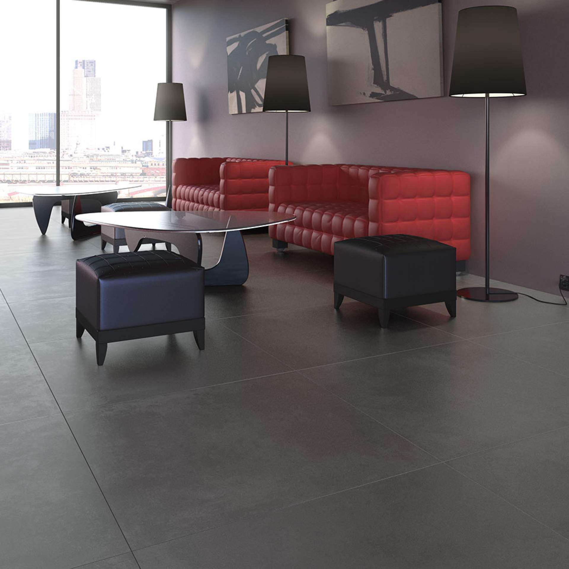 Style setting using Graphite 900mm x 900mm Tile