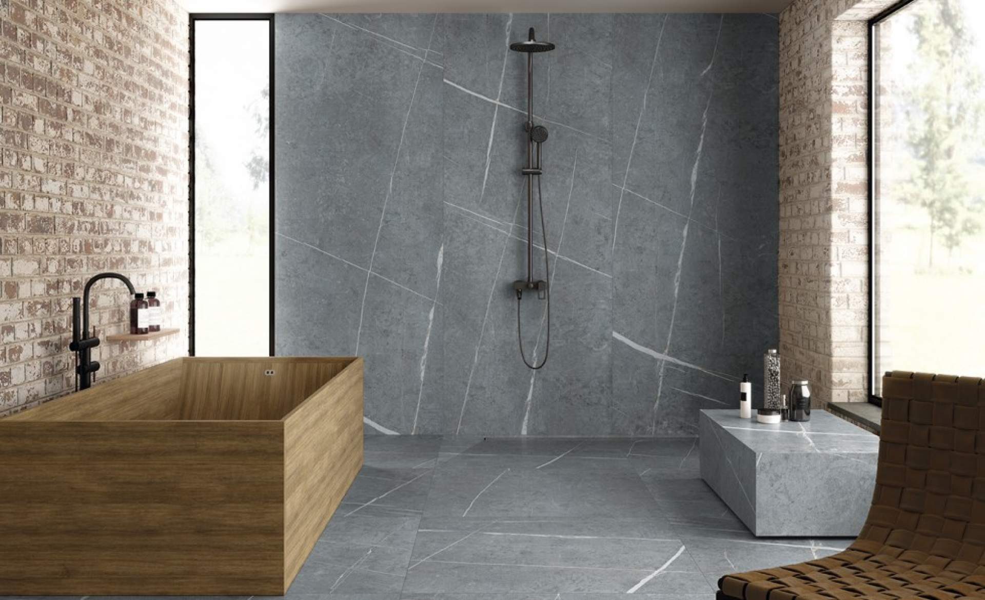 Allure Ceramic Wall Tile Slabs setting using Anthracite Tile