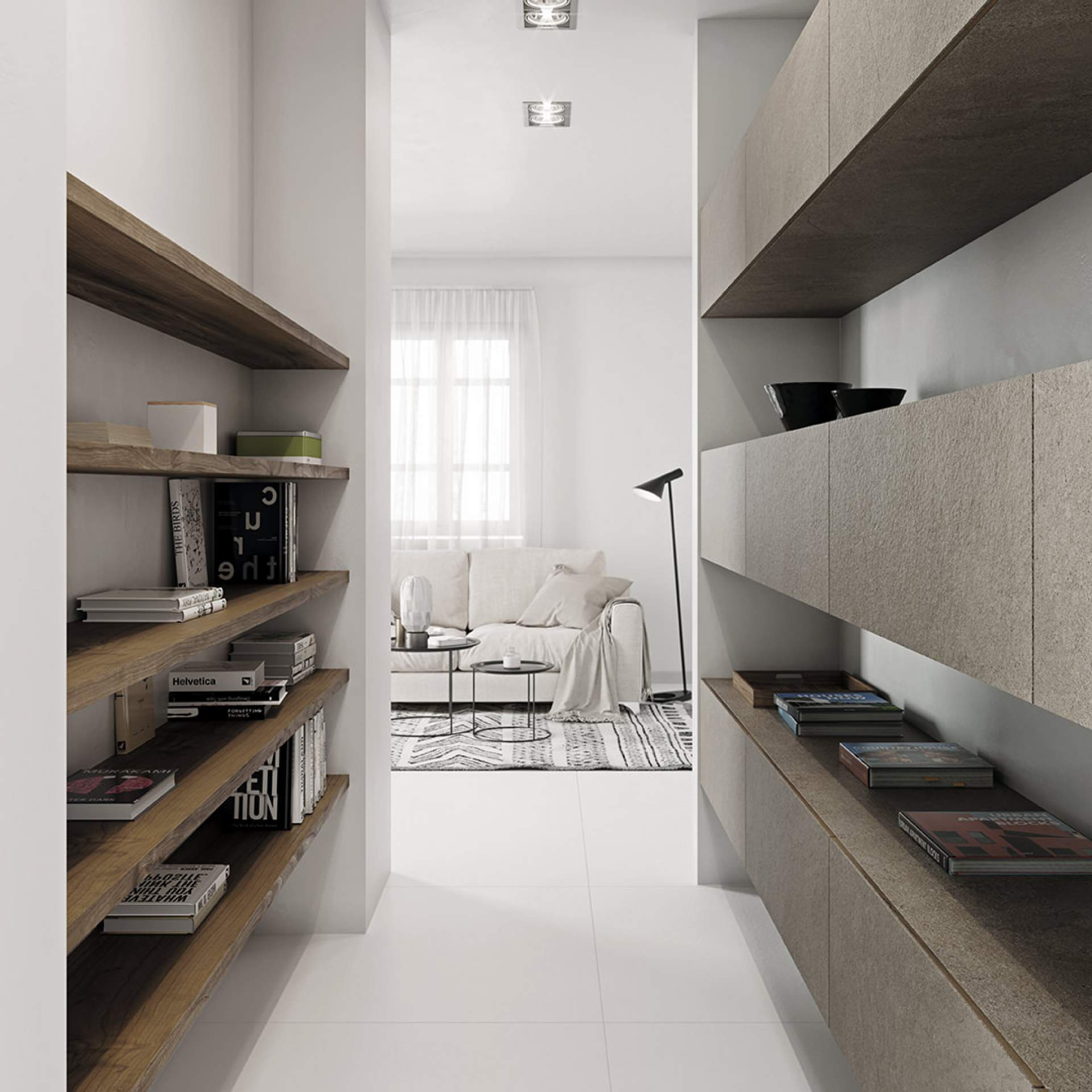 Blank Apartment setting using White Natural Tile
