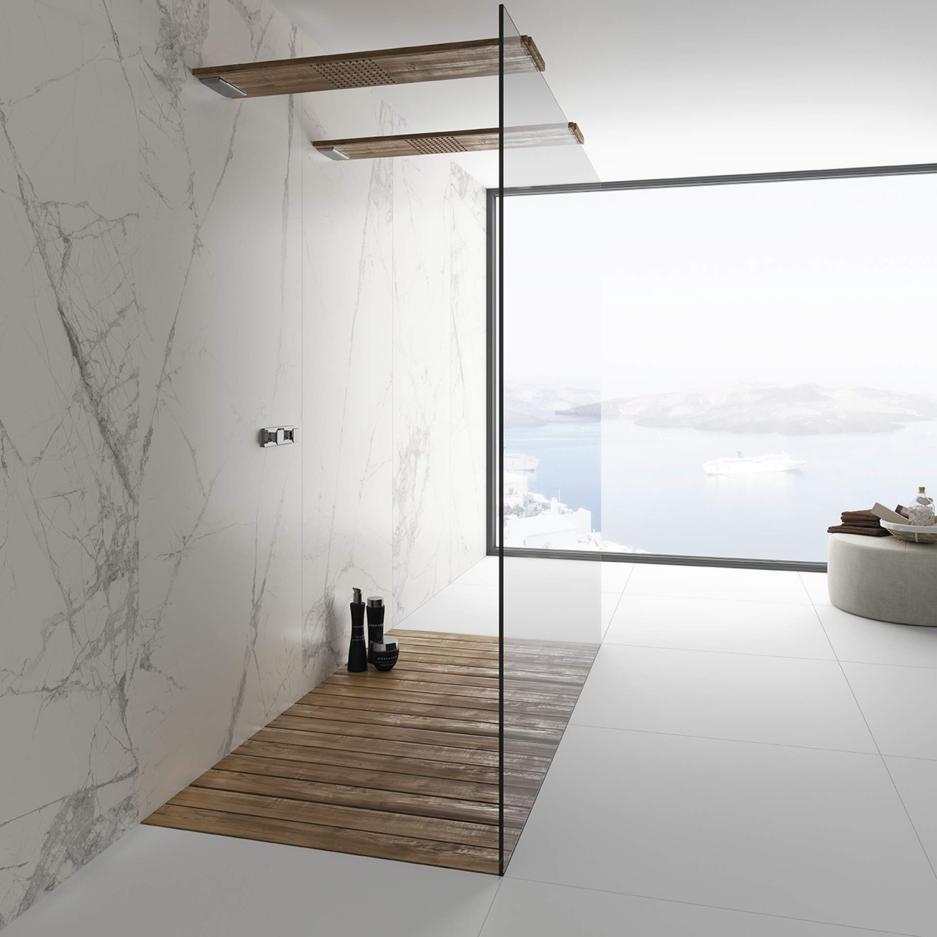 Blank Bathroom setting using White Natural Tile