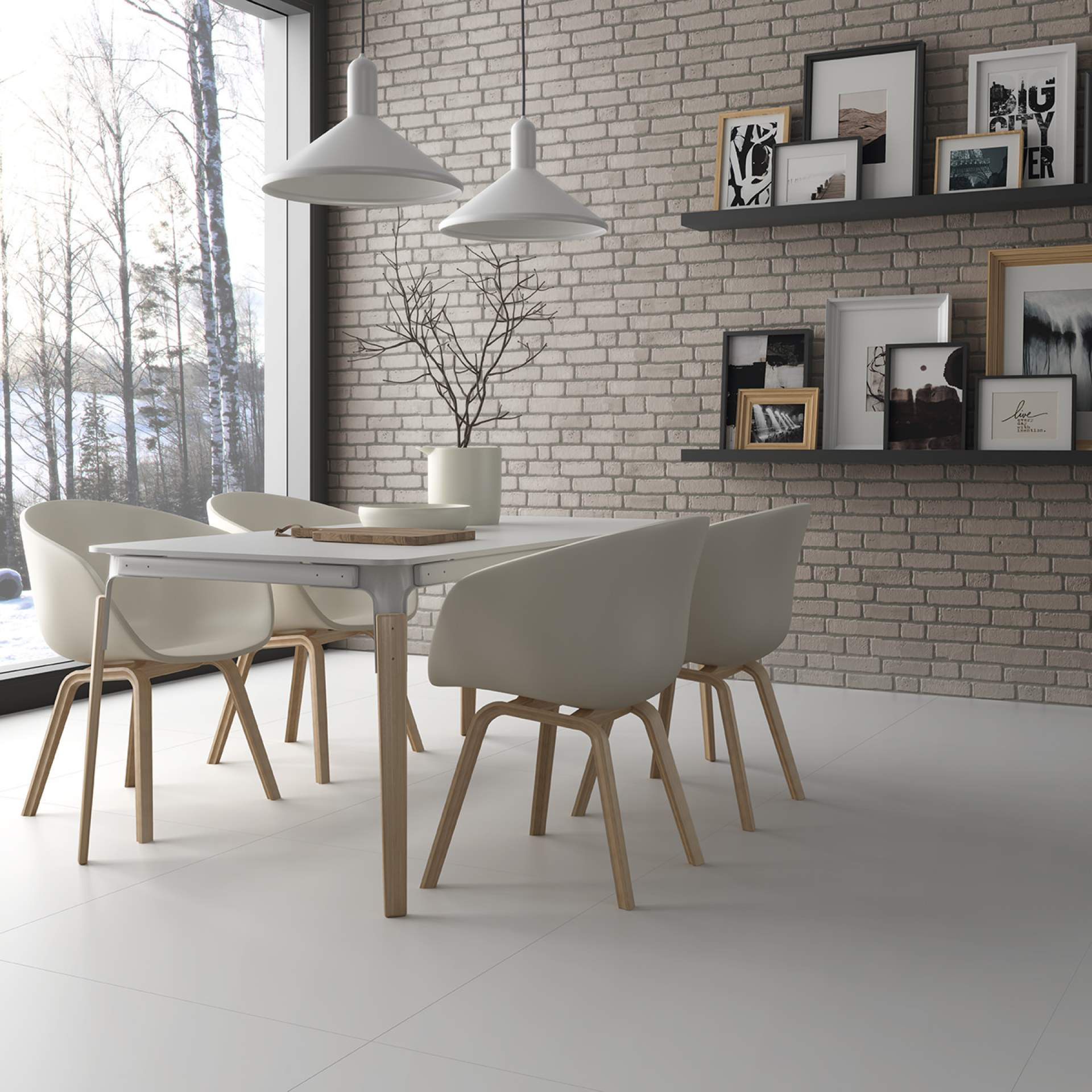 Blank Dining Room setting using White Natural Tile