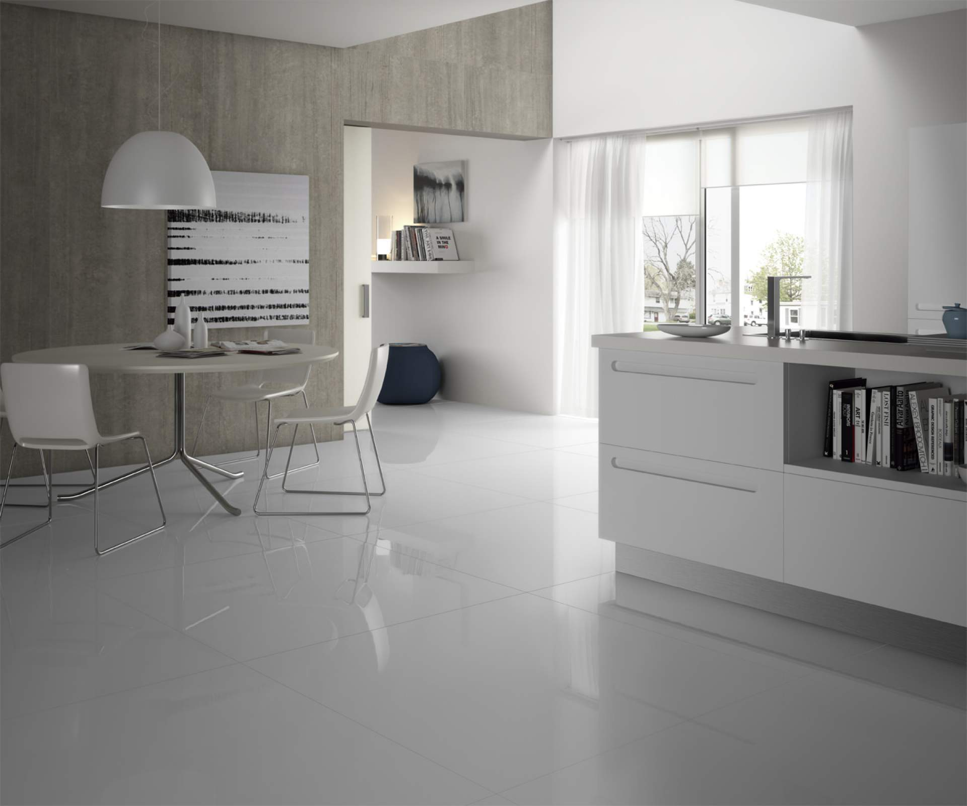 Blank Kitchen setting using White High Gloss Polished Tile