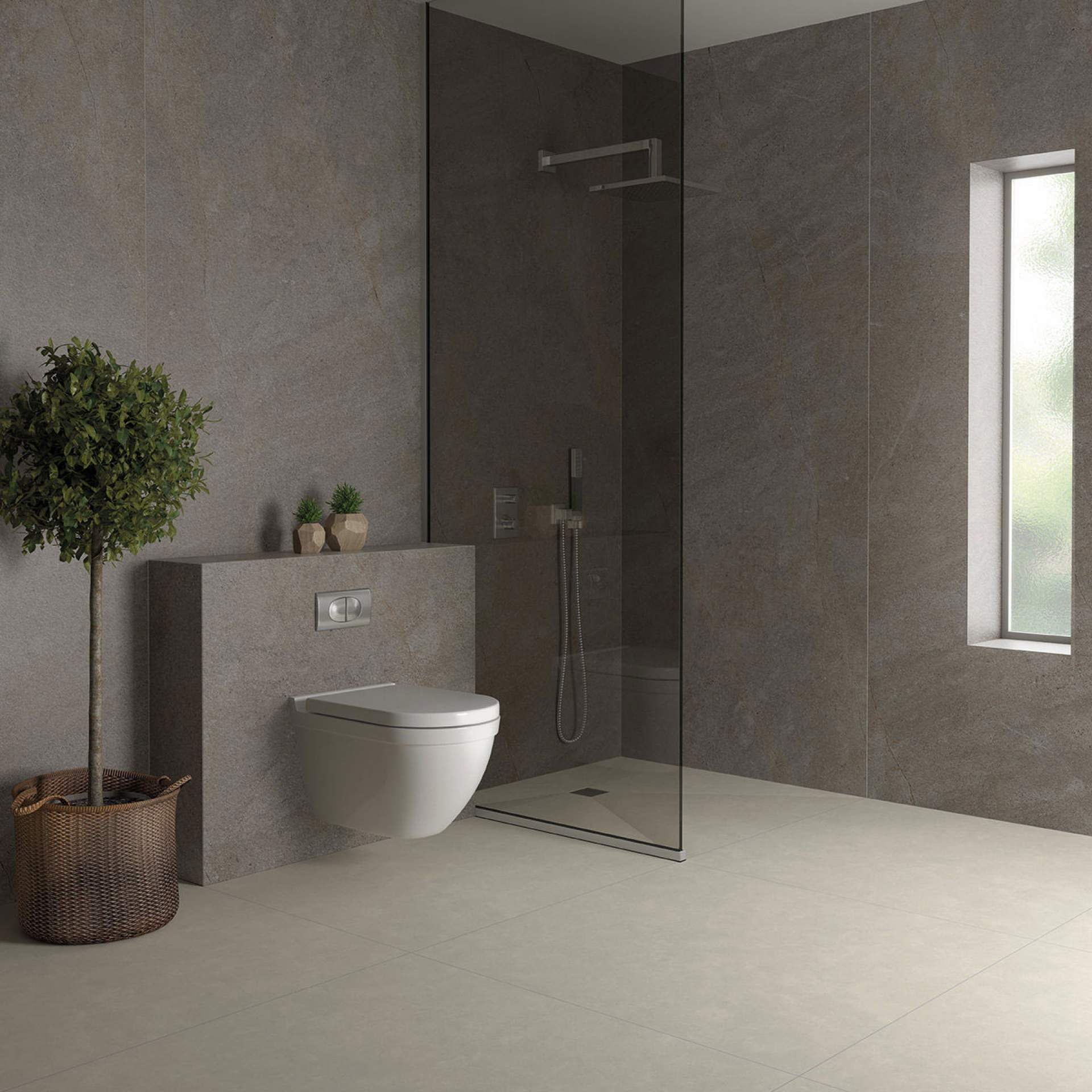 Evoke Bathroom setting with Moka Tile