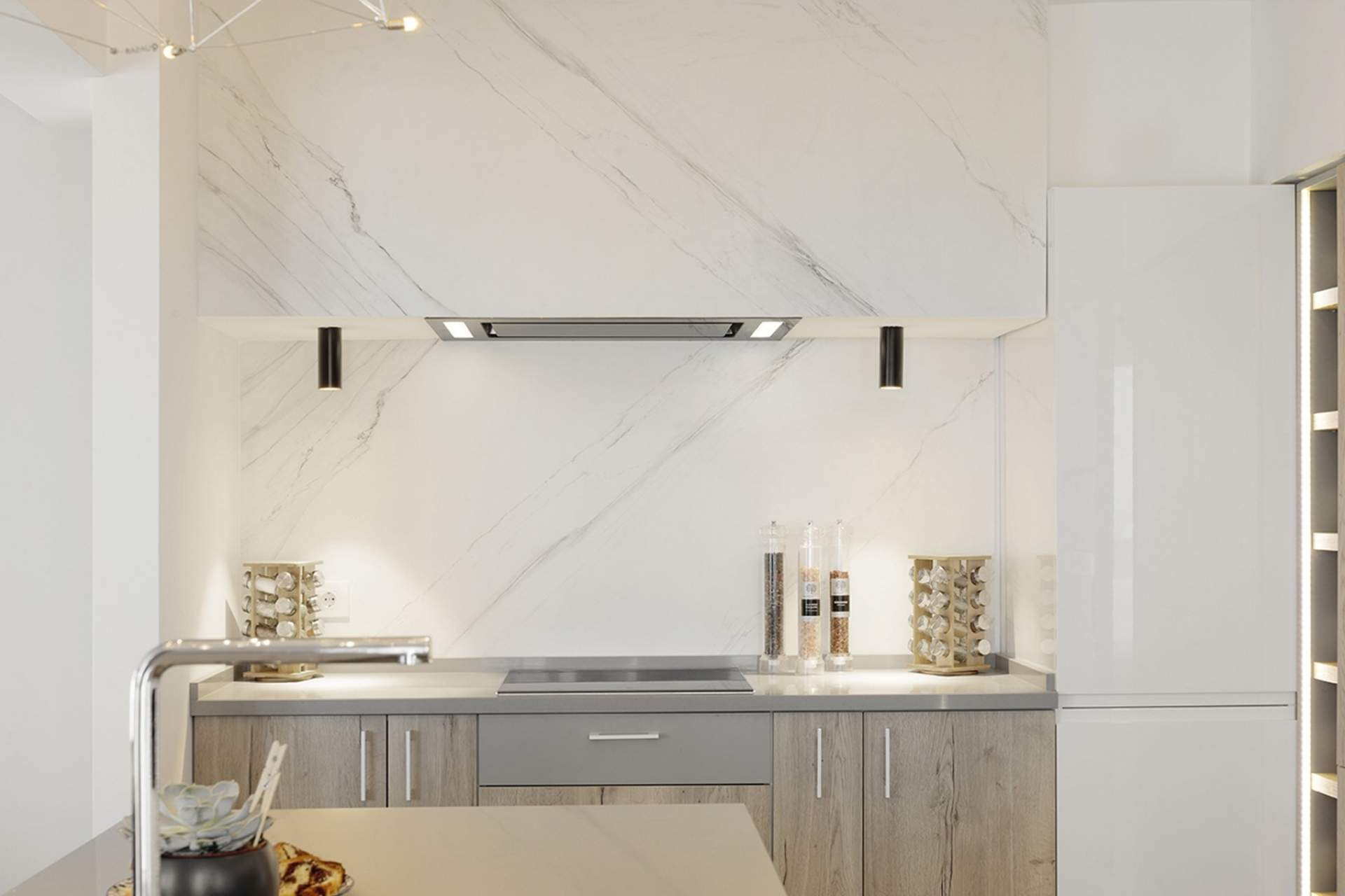 Feel kitchen wall setting using white grey high gloss tile