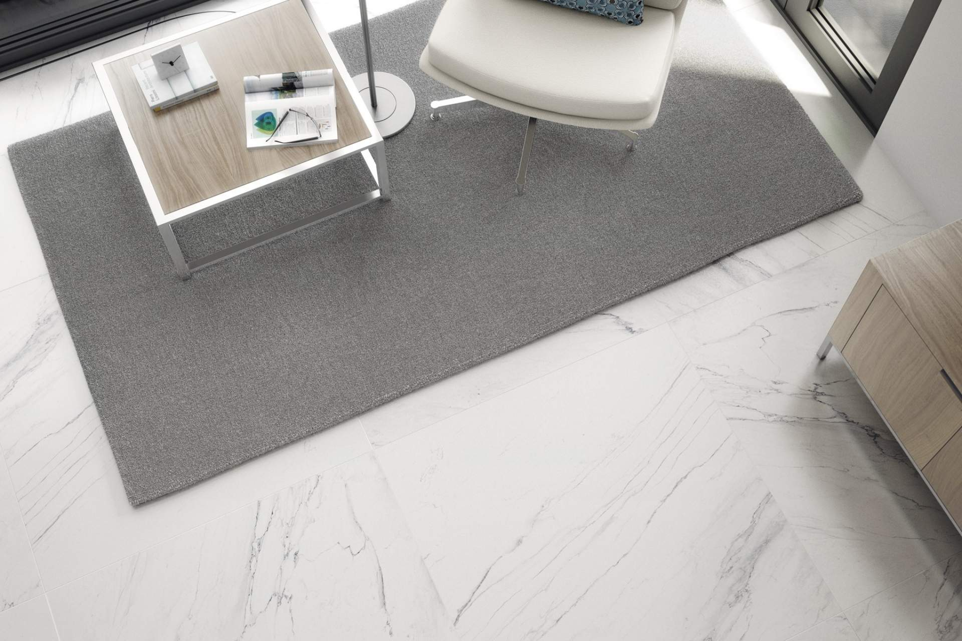 Feel lounge setting using white grey natural tile