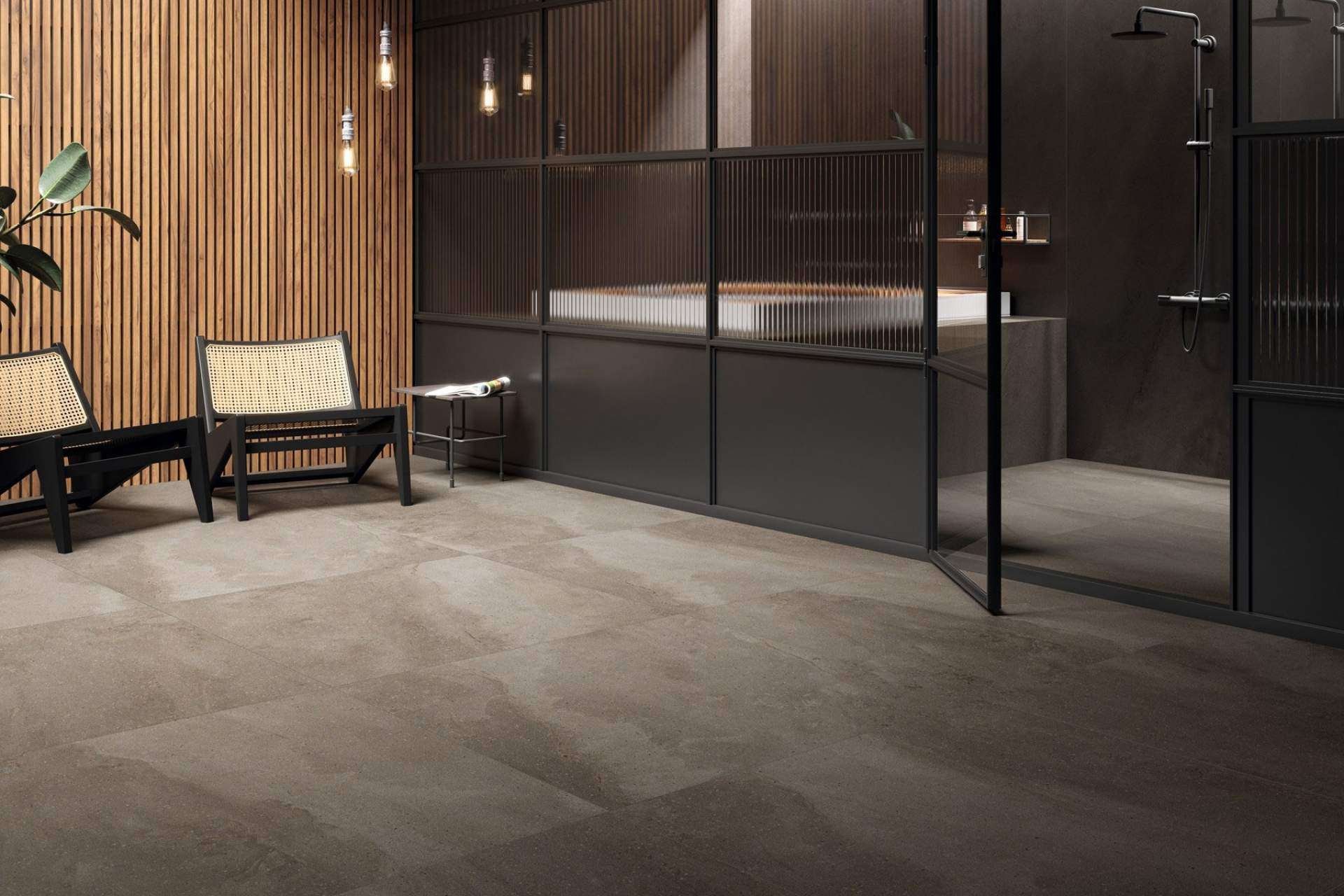 Fusion bathroom setting using grey natural tile