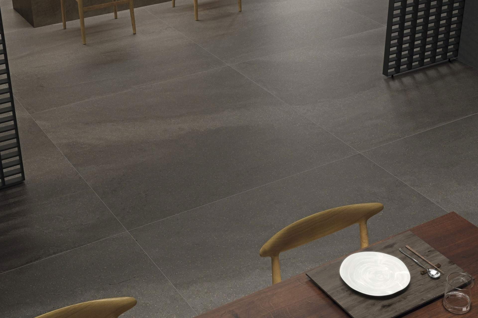 Fusion floor setting using grey natural 100 x 100 tile