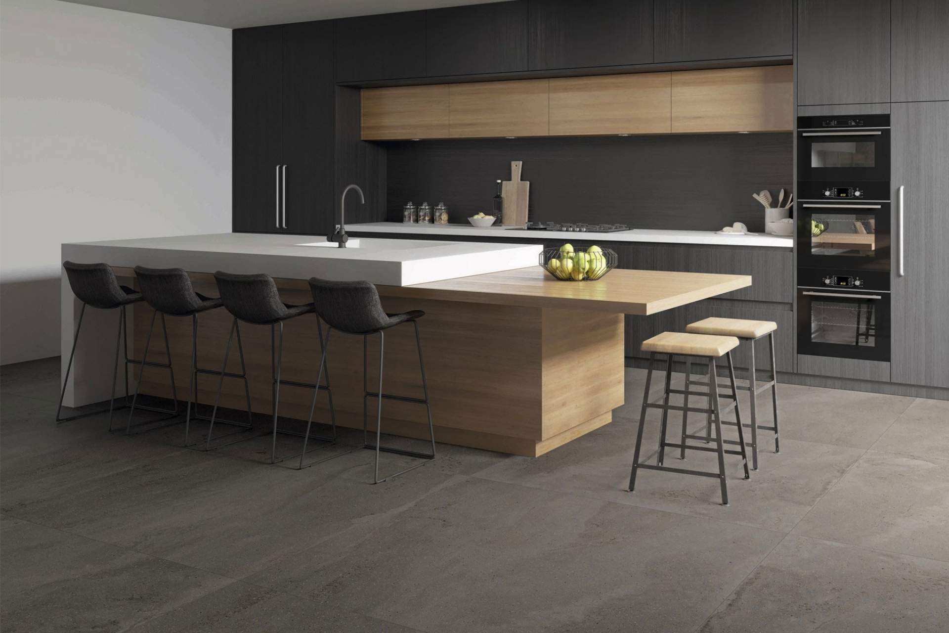 Fusion kitchen setting using grey natural 100 x 100 tile