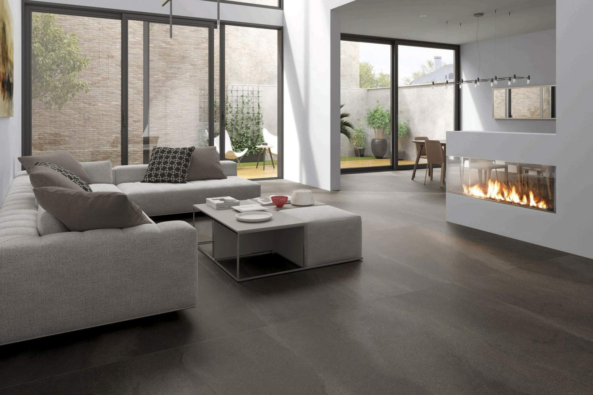 Fusion living room setting using grey natural 100 x 100 tile