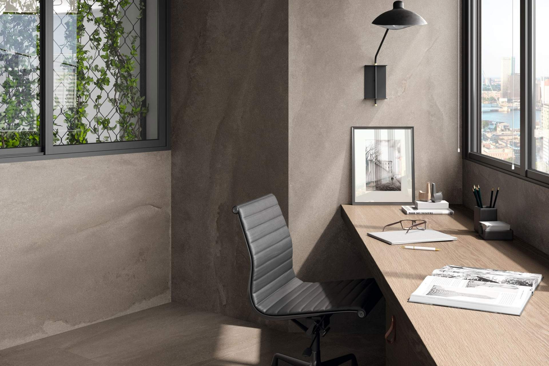 Fusion office setting using grey natural 100 x 100 tile