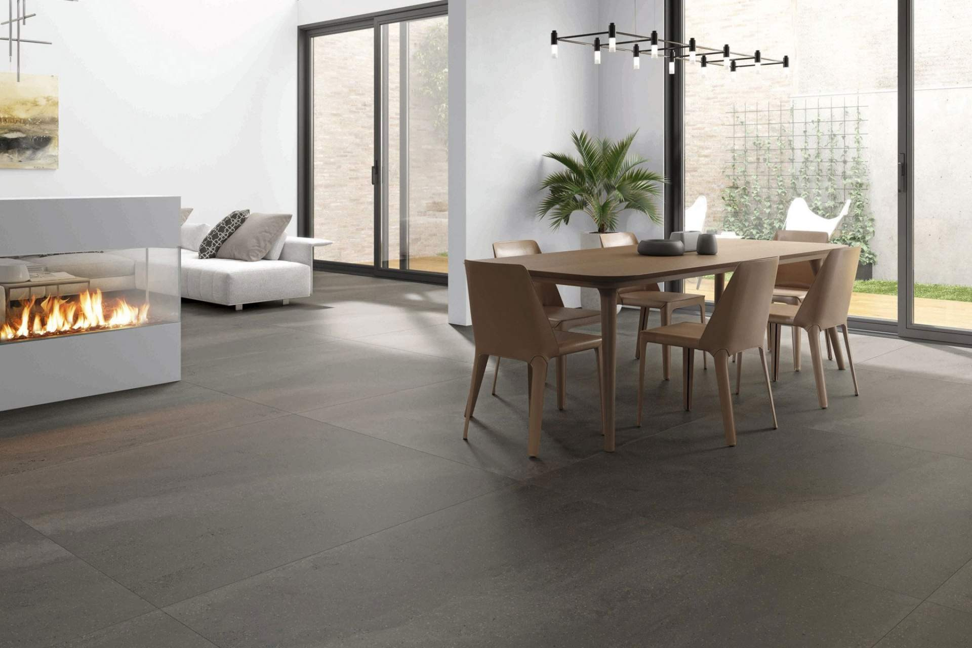 Fusion open plan setting using grey natural tile
