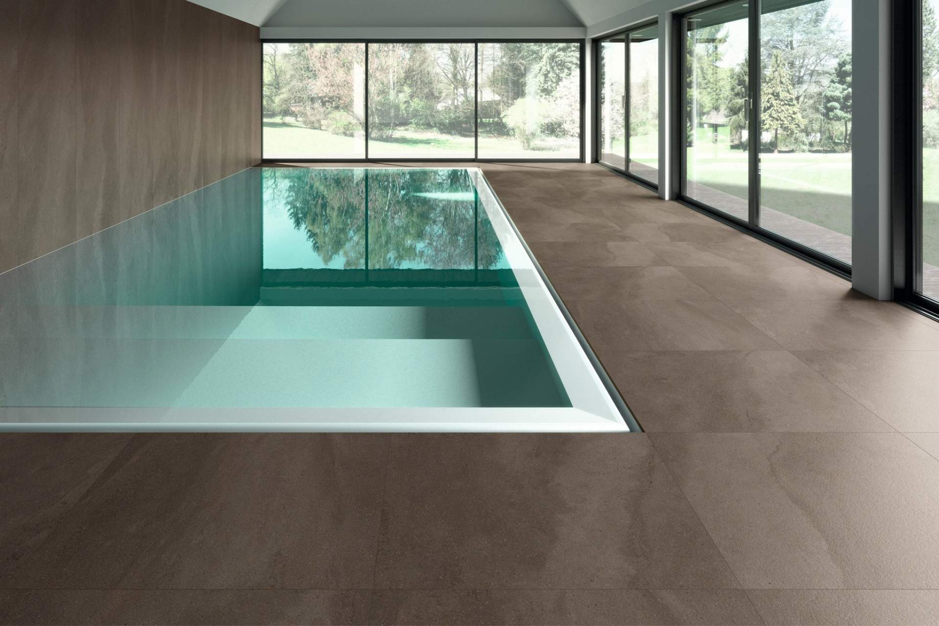 Fusion swimming pool setting using grey natural 100 x 100 tile
