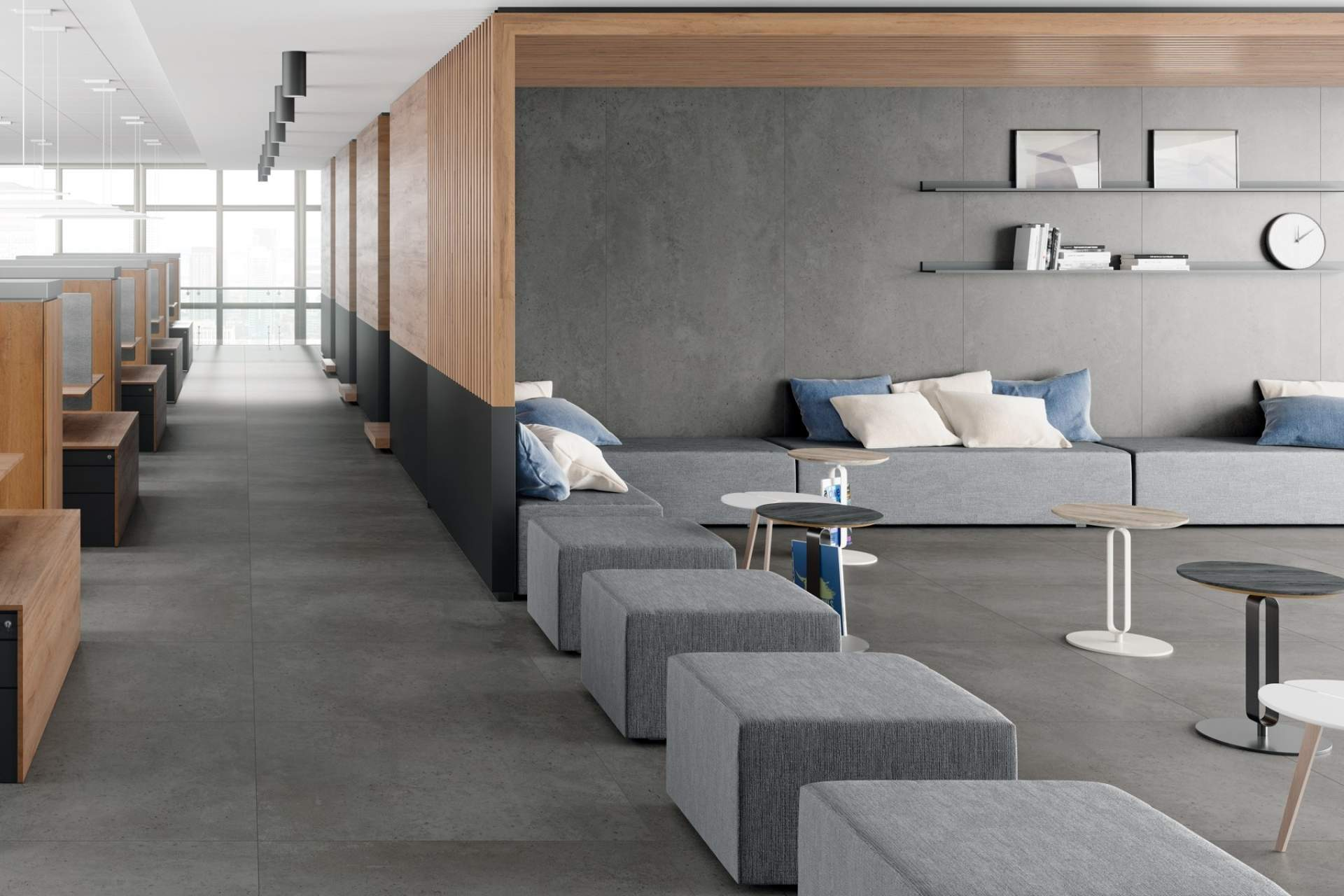 Industry office setting using Grey Tile