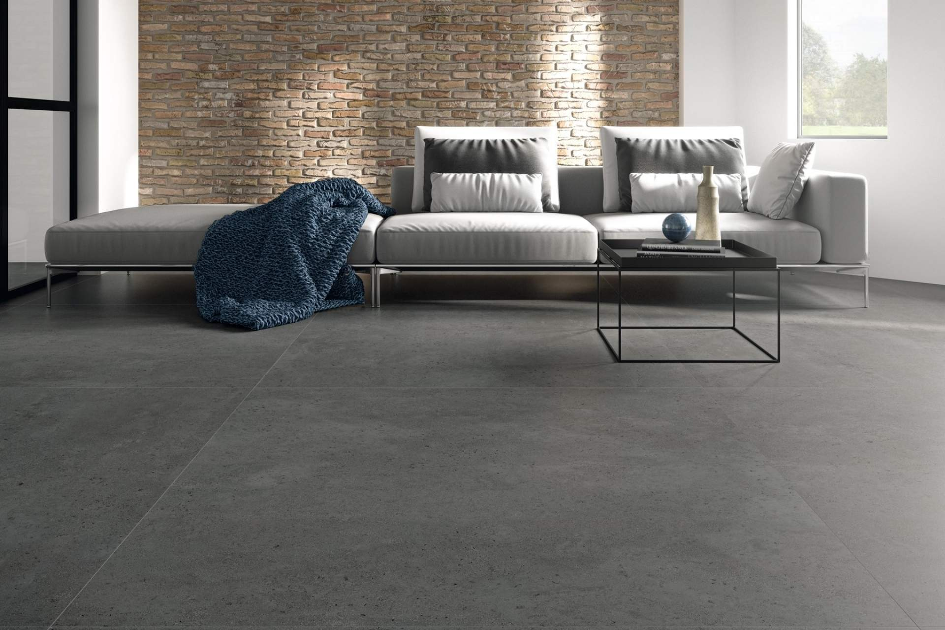 Industry open plan apartment setting using Grey Tile