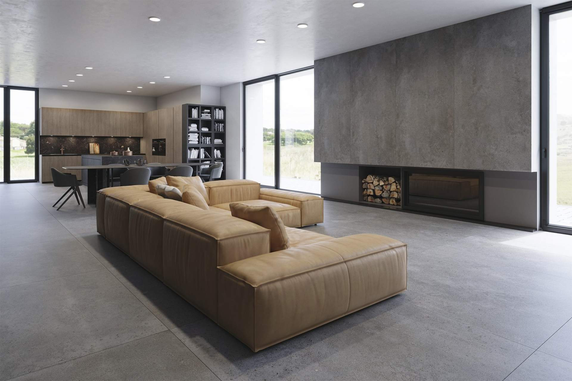 Industry open plan lounge setting using Grey Tile