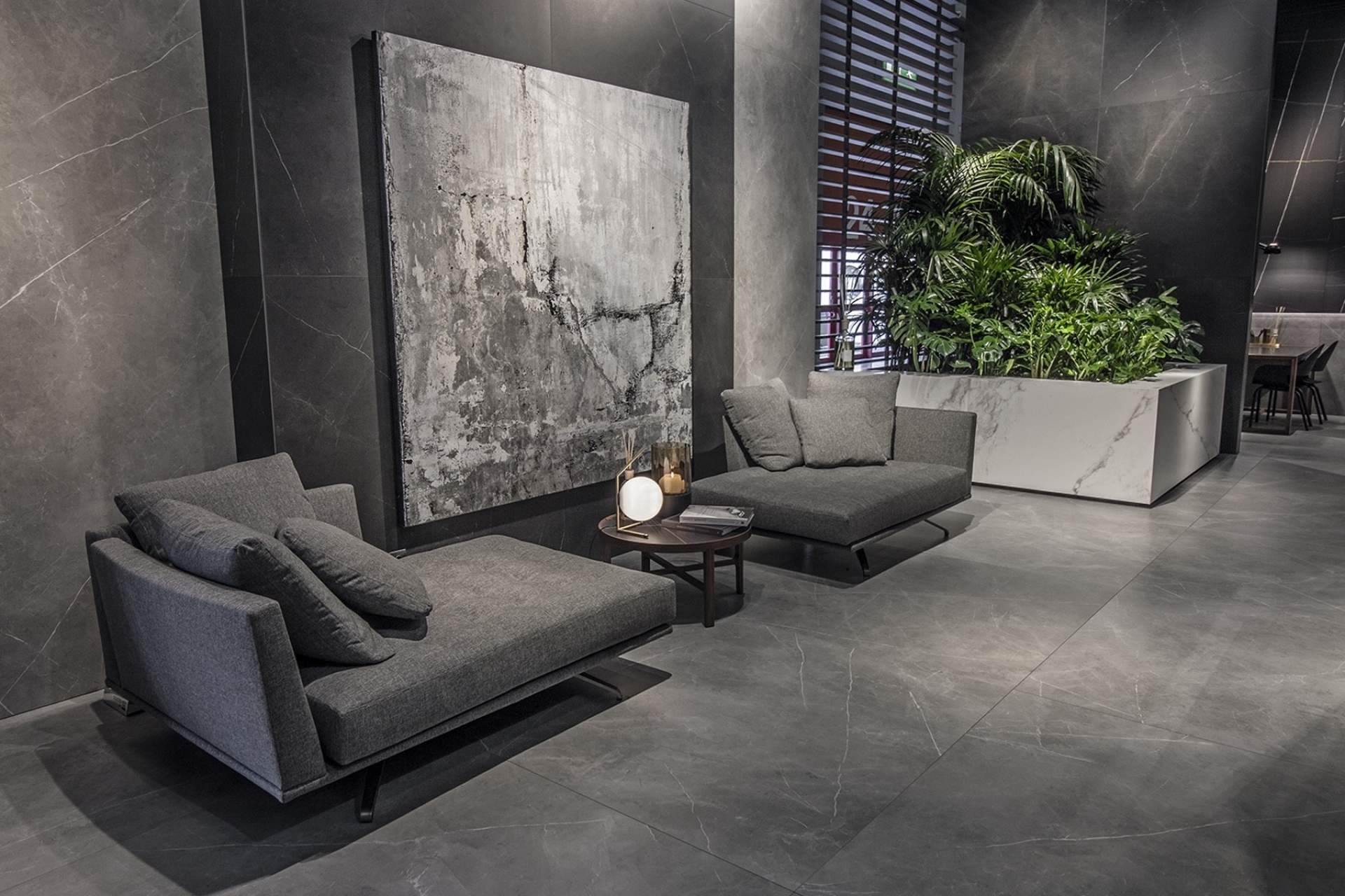 Inspire open plan setting using grey natural tile