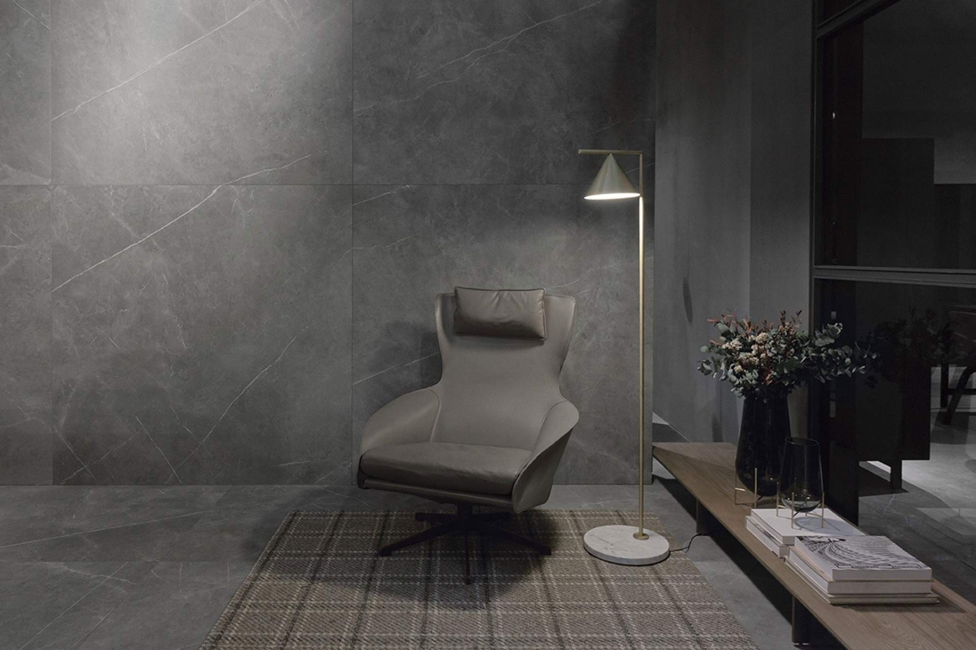 Inspire setting using grey natural tile