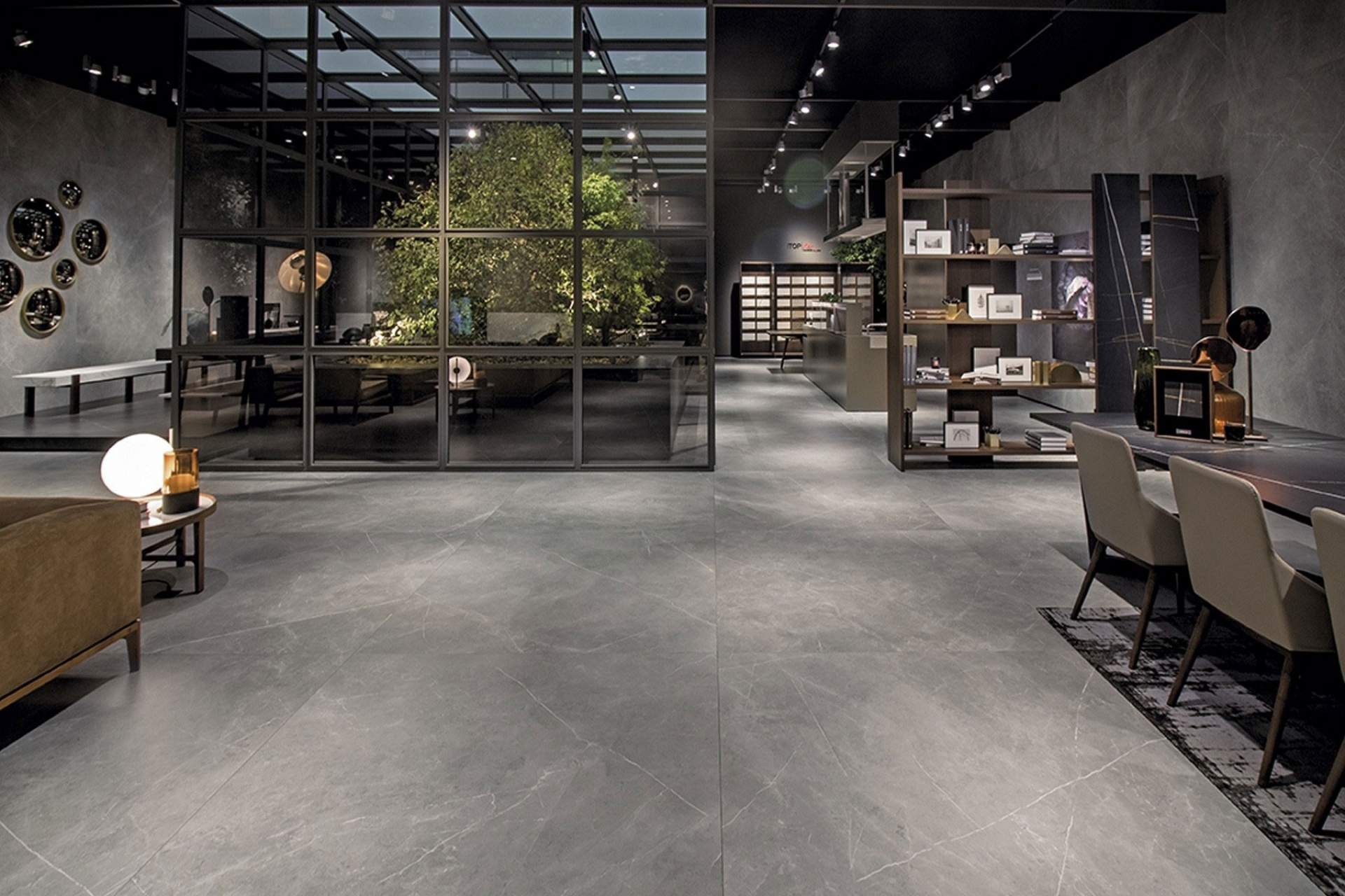 Inspire shop setting using grey natural tile