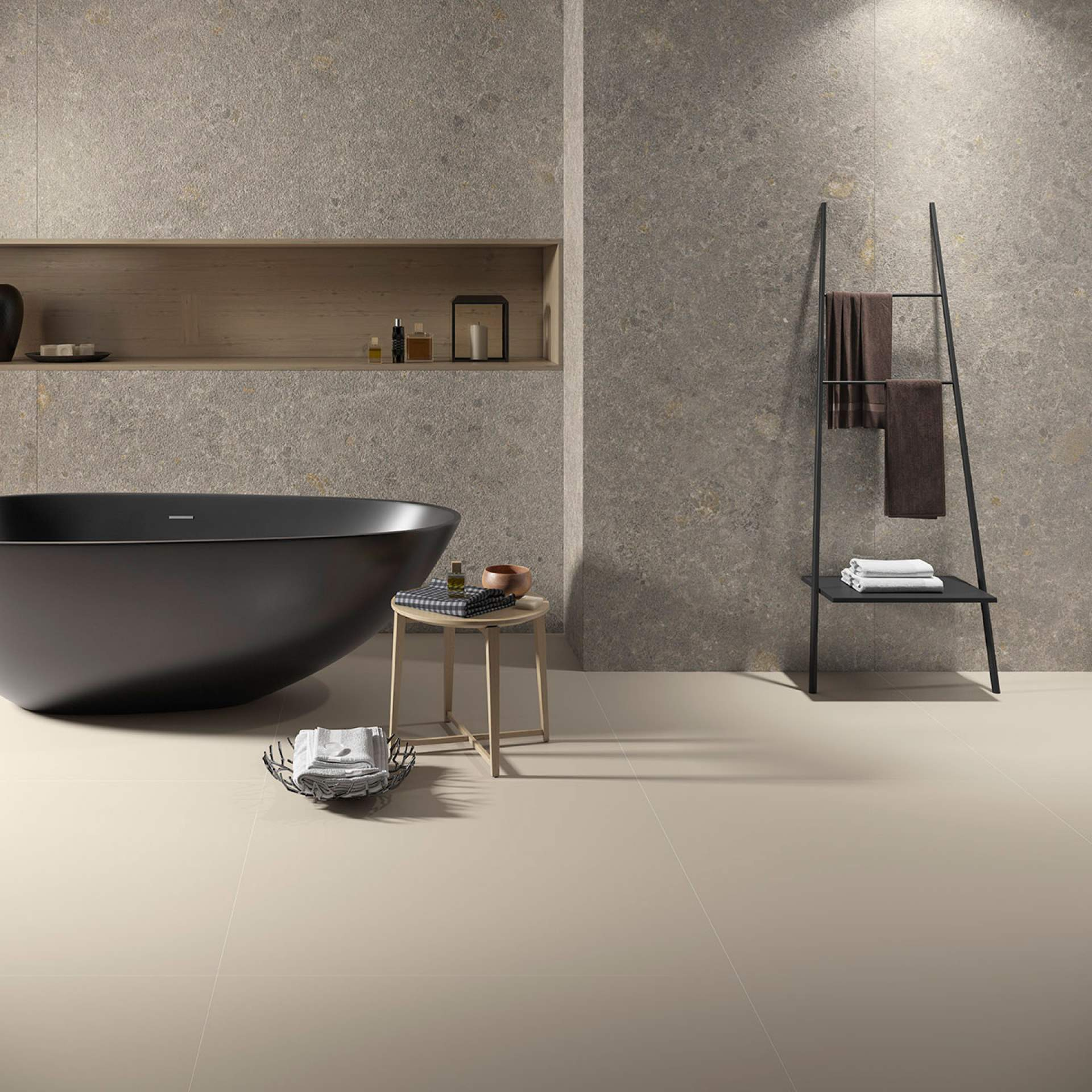 Solid Bathroom setting with Camel Tile