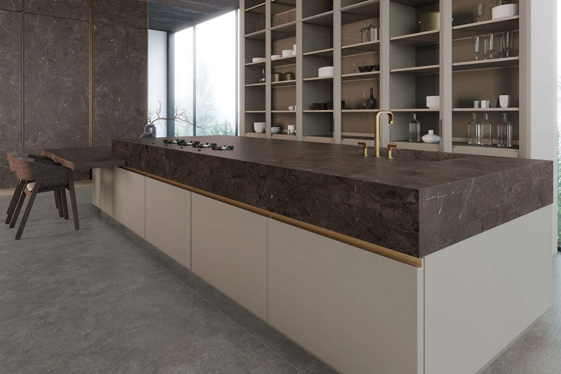 Surface kitchen setting using grey bush hammered tile