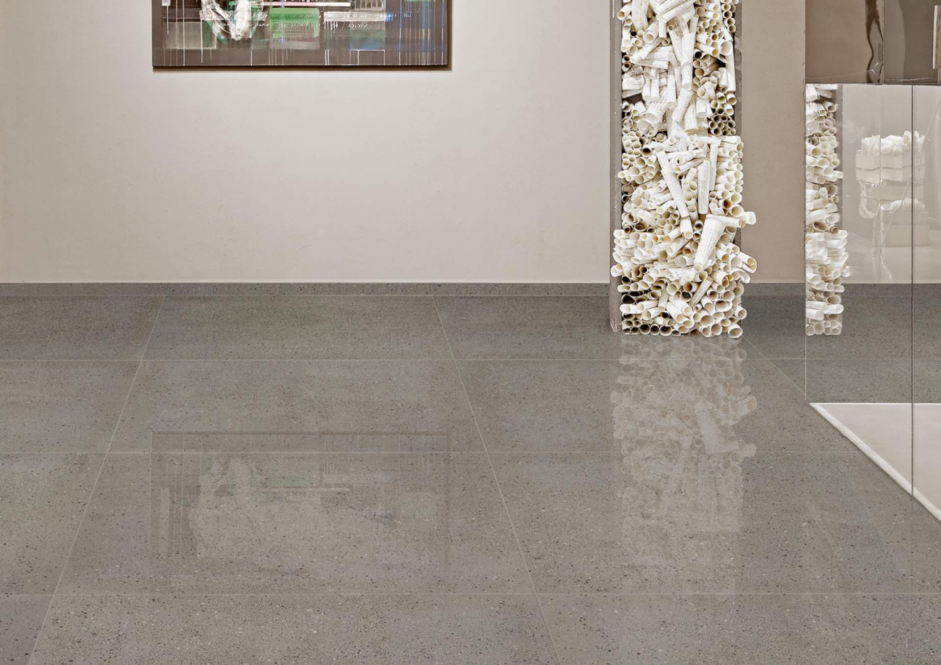 Technical Concrete gallery setting with grey tile