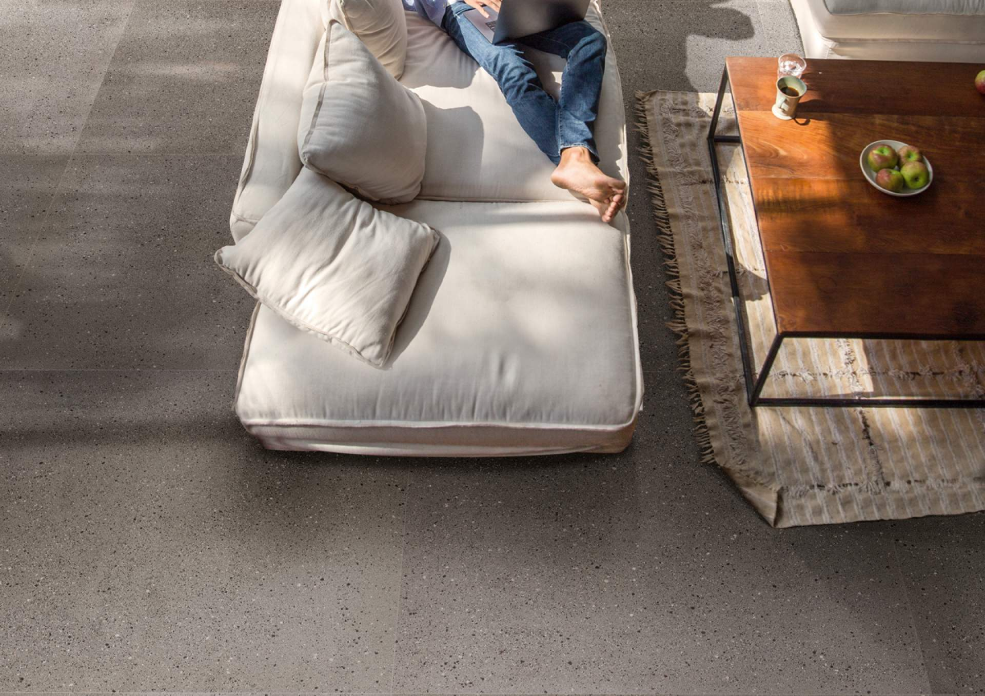 Technical Concrete living space setting with Grey Tile