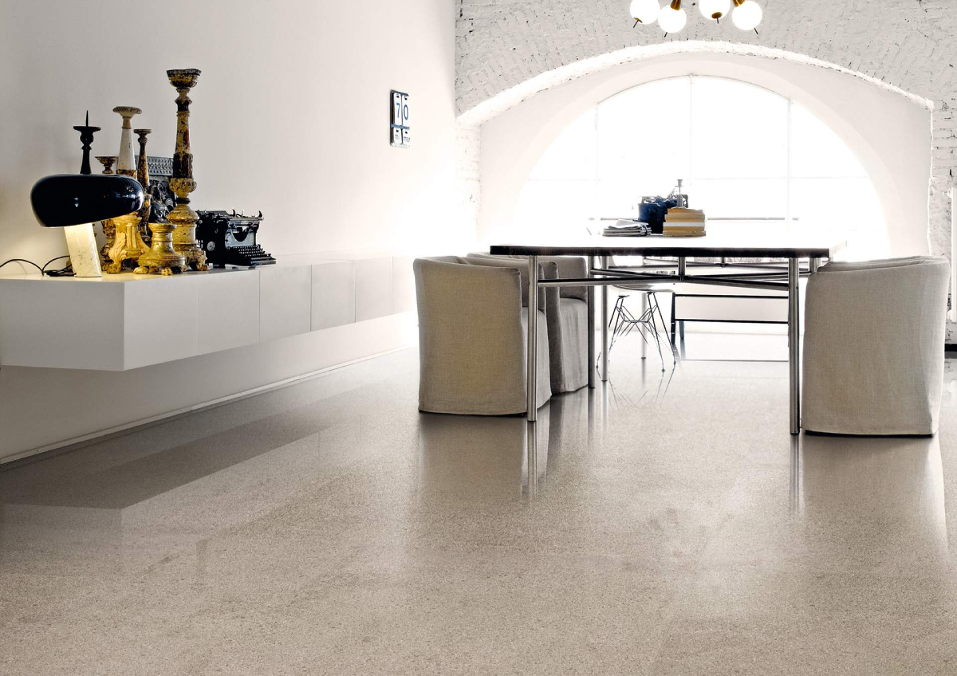 Technical Concrete office setting with Beige Tile