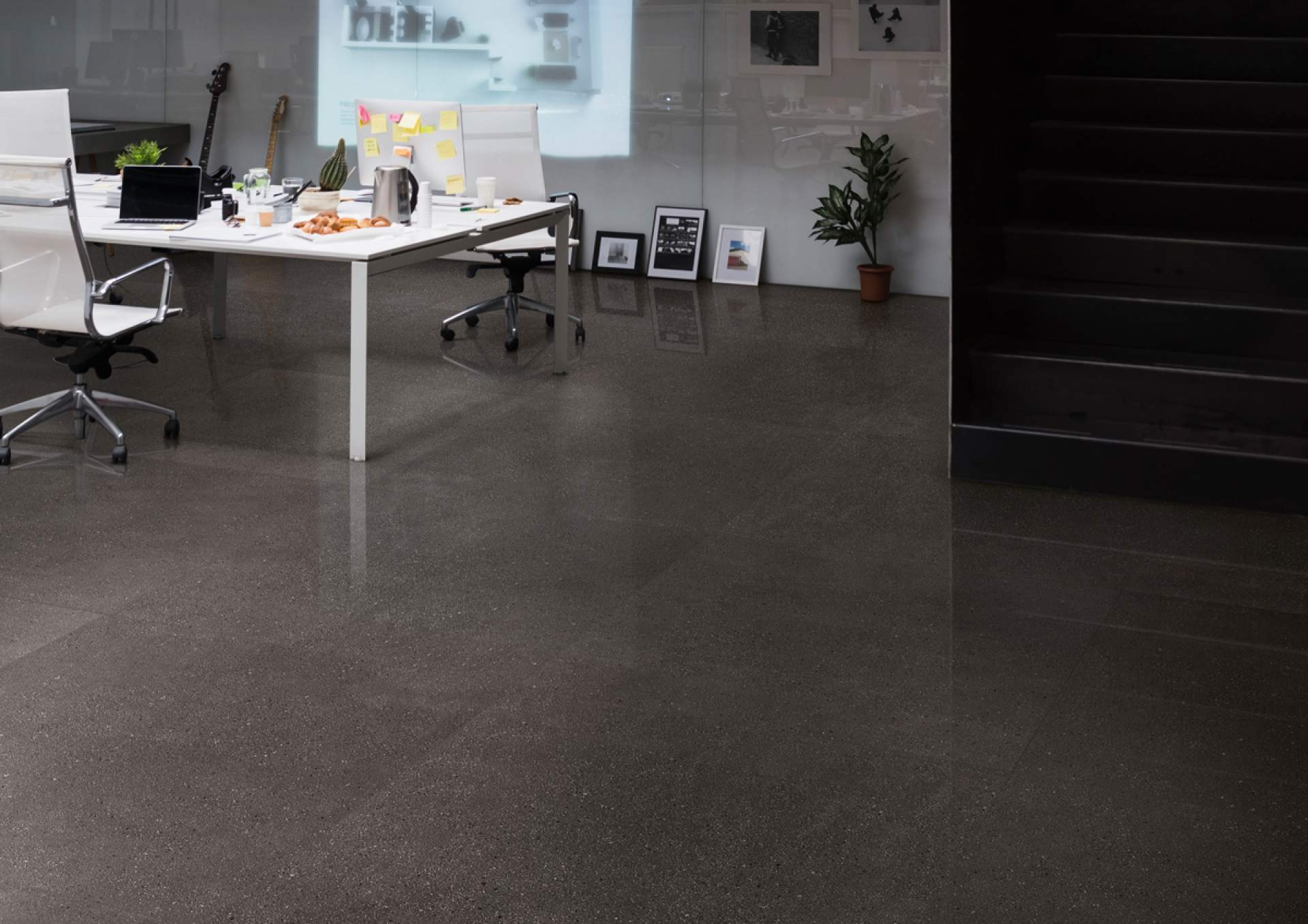 Technical Concrete office setting with Dark Grey Tile
