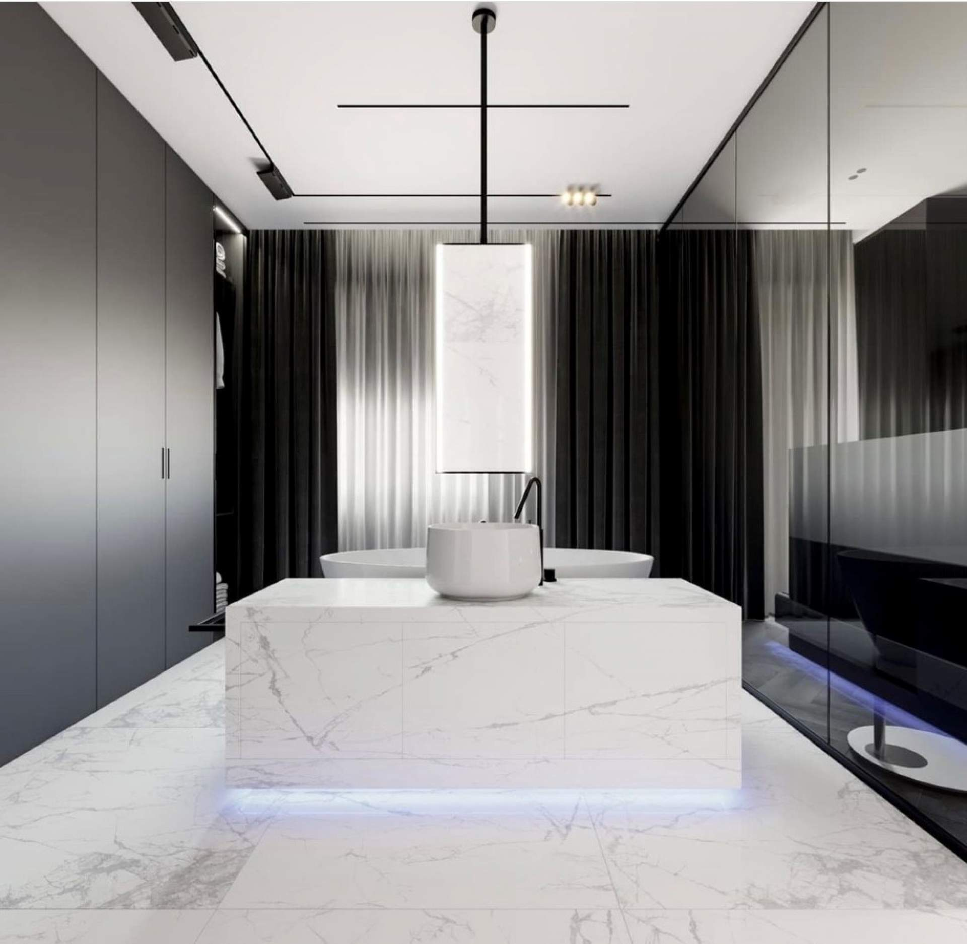 Visual cloakroom setting using White Polished Tile